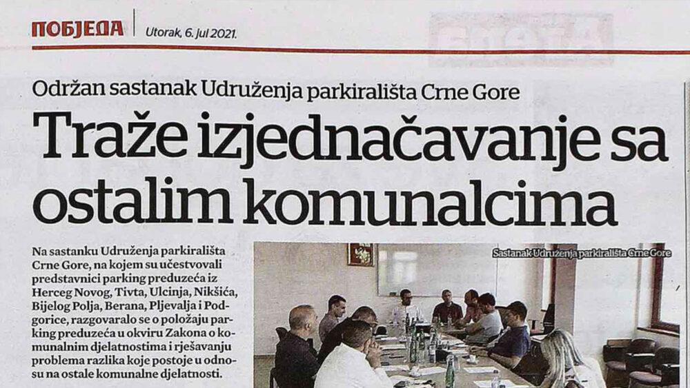 Održan sastanak Udruženja parkirališta Crne Gore